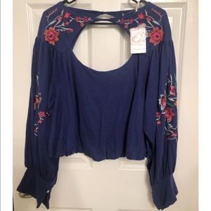 Free People Embroidered Keyhole Blouse